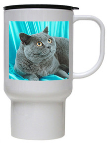 British Shorthair Cat Polymer Plastic Travel Mug