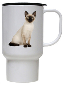 Siamese Cat Polymer Plastic Travel Mug