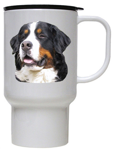 Bernese Mountain Dog Polymer Plastic Travel Mug
