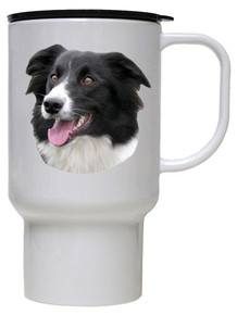 Border Collie Polymer Plastic Travel Mug