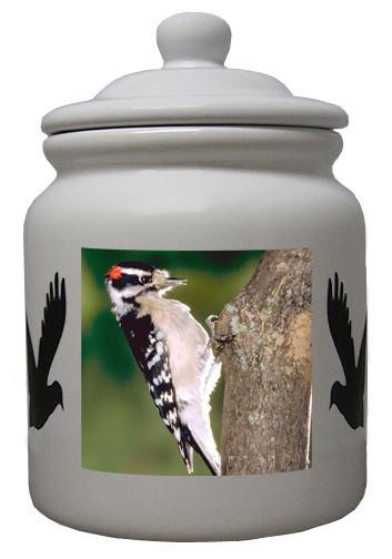 Downey Woodpecker Ceramic Color Cookie Jar