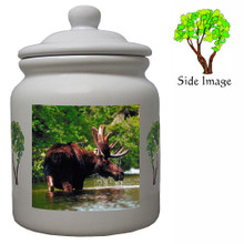 Moose Ceramic Color Cookie Jar