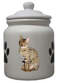 Savannah Cat Ceramic Color Cookie Jar
