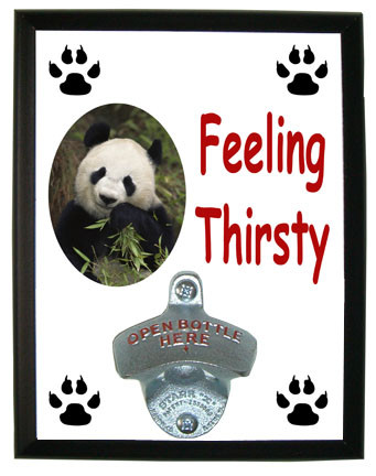 Panda Bear Feeling Thirsty Bottle Opener Plaque
