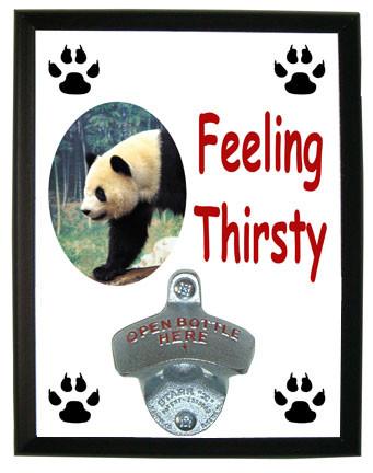 Panda Bear Feeling Thirsty Bottle Opener Plaque