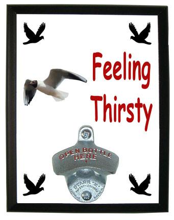 Black Headed Gull Feeling Thirsty Bottle Opener Plaque