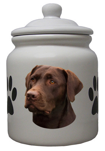 Chocolate Labrador Retriever Ceramic Color Cookie Jar