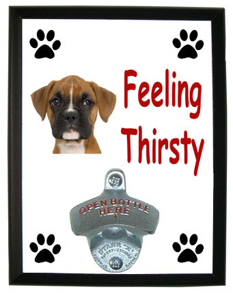 Boxer Feeling Thirsty Bottle Opener Plaque