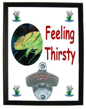 Chameleon Feeling Thirsty Bottle Opener Plaque