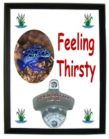 Blue Frog Feeling Thirsty Bottle Opener Plaque