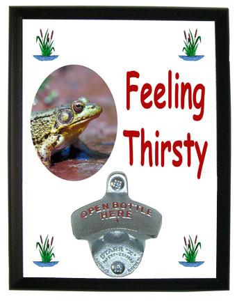 Green Frog Feeling Thirsty Bottle Opener Plaque