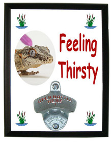 Gecko Feeling Thirsty Bottle Opener Plaque