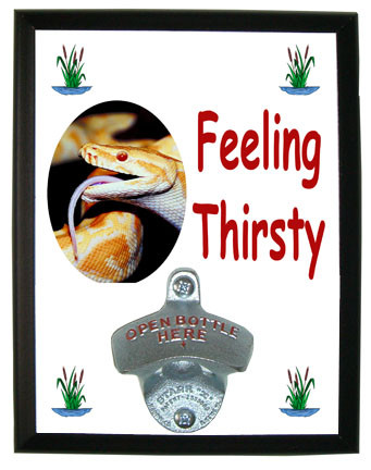 Python Snake Feeling Thirsty Bottle Opener Plaque