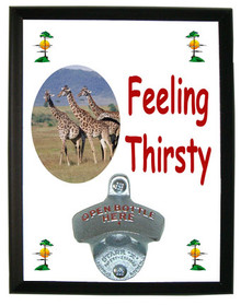 Giraffe Feeling Thirsty Bottle Opener Plaque