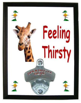 Giraffe Feeling Thirsty Bottle Opener Plaque