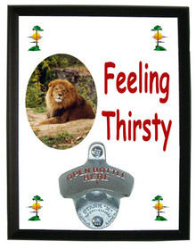 Lion Feeling Thirsty Bottle Opener Plaque