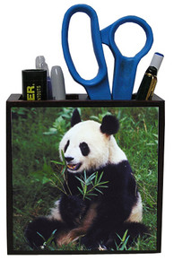 Panda Bear Wood Pencil Holder