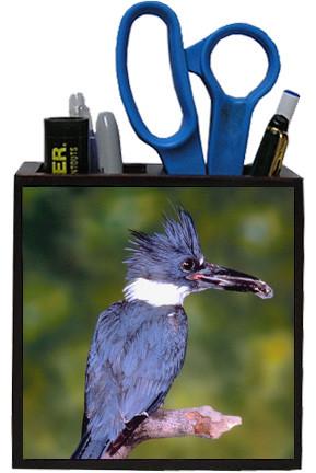 Belted Kingfisher Wooden Pencil Holder