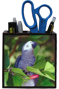 African Grey Parrot Wooden Pencil Holder