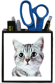 American Shorthair Cat Wooden Pencil Holder