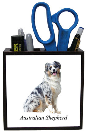 Australian Shepherd Wooden Pencil Holder