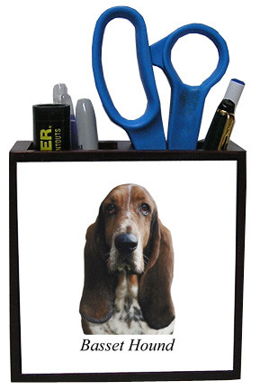 Basset Hound Wooden Pencil Holder