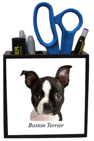 Boston Terrier Wooden Pencil Holder