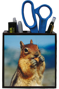 Chipmunk Wooden Pencil Holder