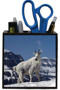 Mountain Goat Wooden Pencil Holder