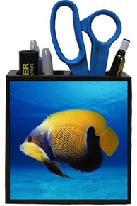 Blue Girdled Angelfish Wooden Pencil Holder