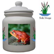 Tomato Frog Ceramic Color Cookie Jar
