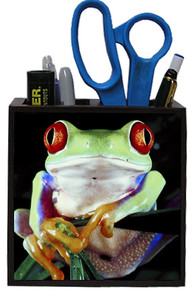 Tree Frog Wooden Pencil Holder