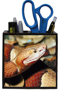 Copperhead Snake Wooden Pencil Holder