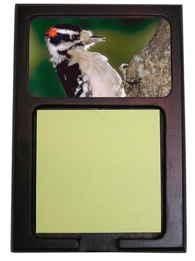 Downey Woodpecker Wooden Sticky Note Holder