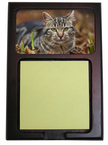 Tabby Cat Wood Sticky Note Holder