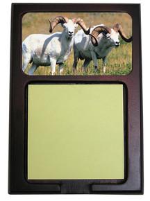 Big Horned Sheep Wooden Sticky Note Holder
