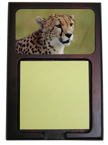 Cheetah Wooden Sticky Note Holder