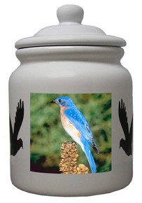 Bluebird Ceramic Color Cookie Jar