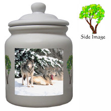 Wolf Ceramic Color Cookie Jar