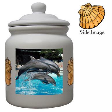 Dolphin Ceramic Color Cookie Jar