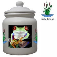 Tree Frog Ceramic Color Cookie Jar
