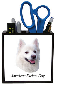 American Eskimo Dog Wood Pencil Holder