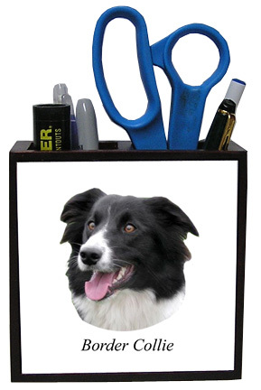 Border Collie Wood Pencil Holder