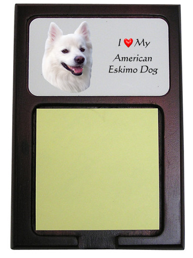 American Eskimo Dog Wooden Sticky Note Holder