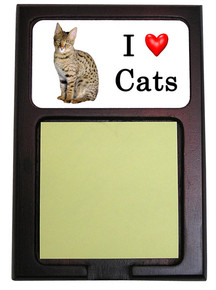 Savannah Cat Wood Sticky Note Holder