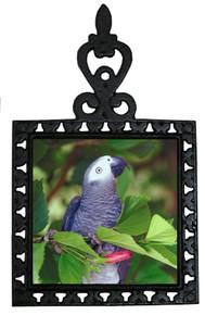 African Grey Parrot Iron Trivet