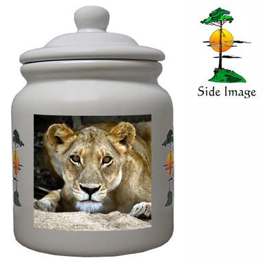 Lion Ceramic Color Cookie Jar