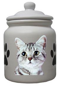 American Shorthair Cat Ceramic Color Cookie Jar
