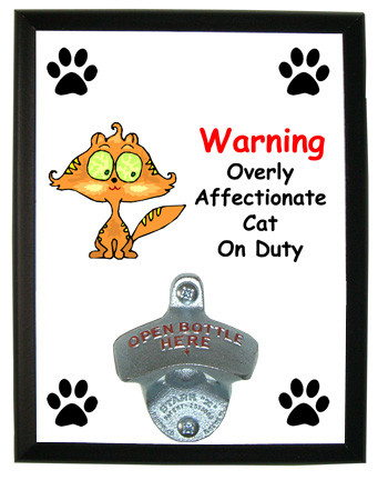 Affectionate Cat On Duty: Bottle Opener