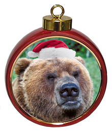 Bear Ceramic Red Drum Christmas Ornament